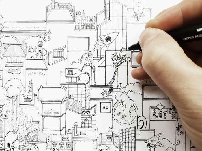 nelio Paris illustration ville Docteur Paper