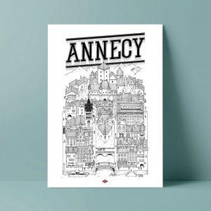 ANNECY Docteur Paper ILLUSTRATION AFFICHE VILLE