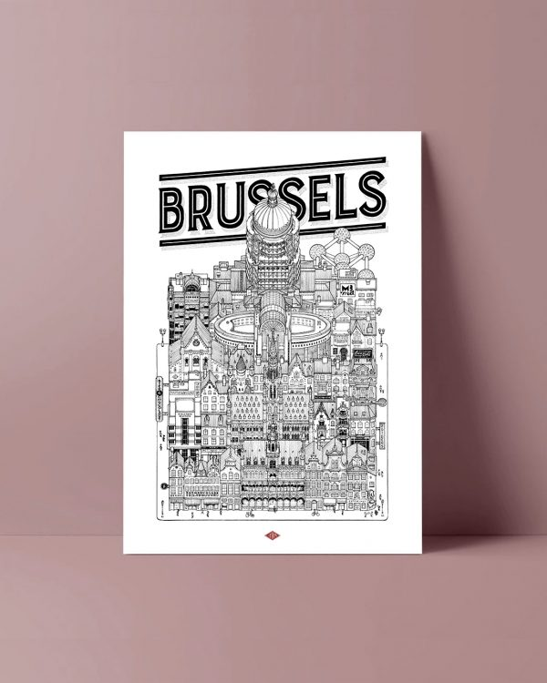 BRUSSELS Docteur Paper ILLUSTRATION AFFICHE VILLE