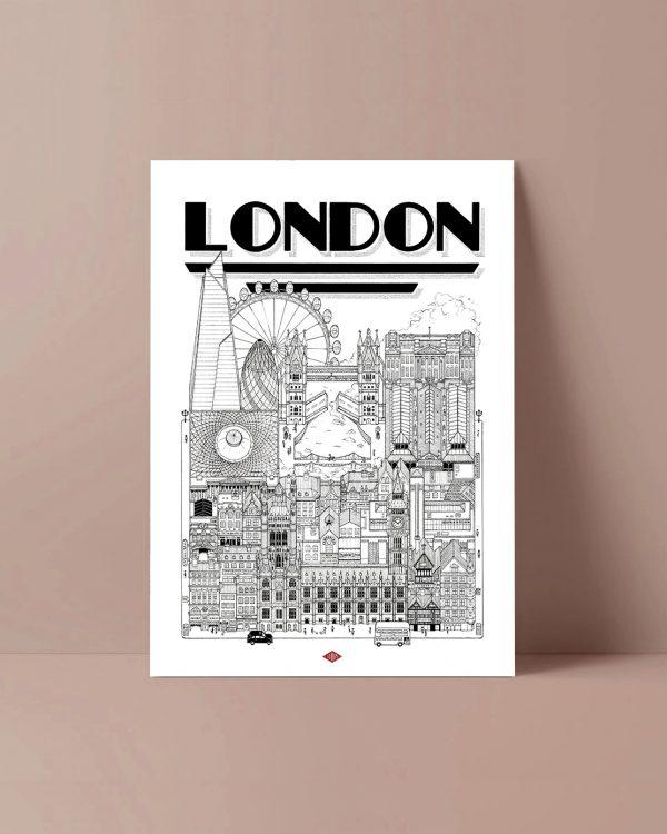 London illustration Docteur Paper affiche ville