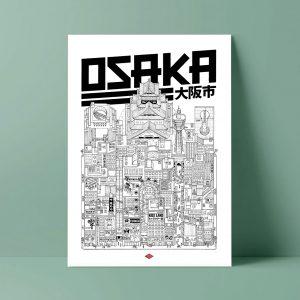OSAKA ILLUSTRATION Docteur Paper AFFICHE VILLE