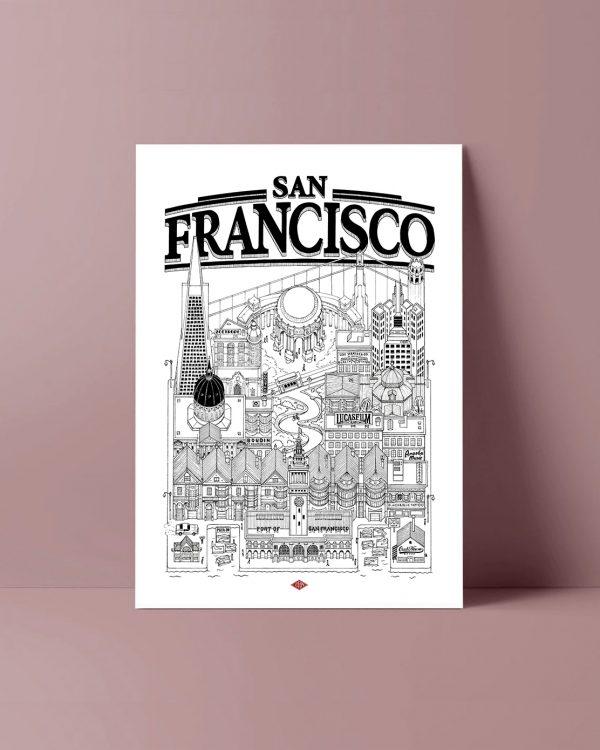 San Francisco Docteur Paper illustration affiche