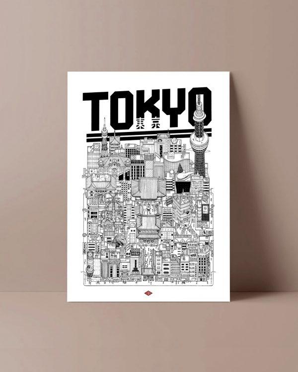TOKYO Docteur Paper ILLUSTRATION AFFICHE VILLE