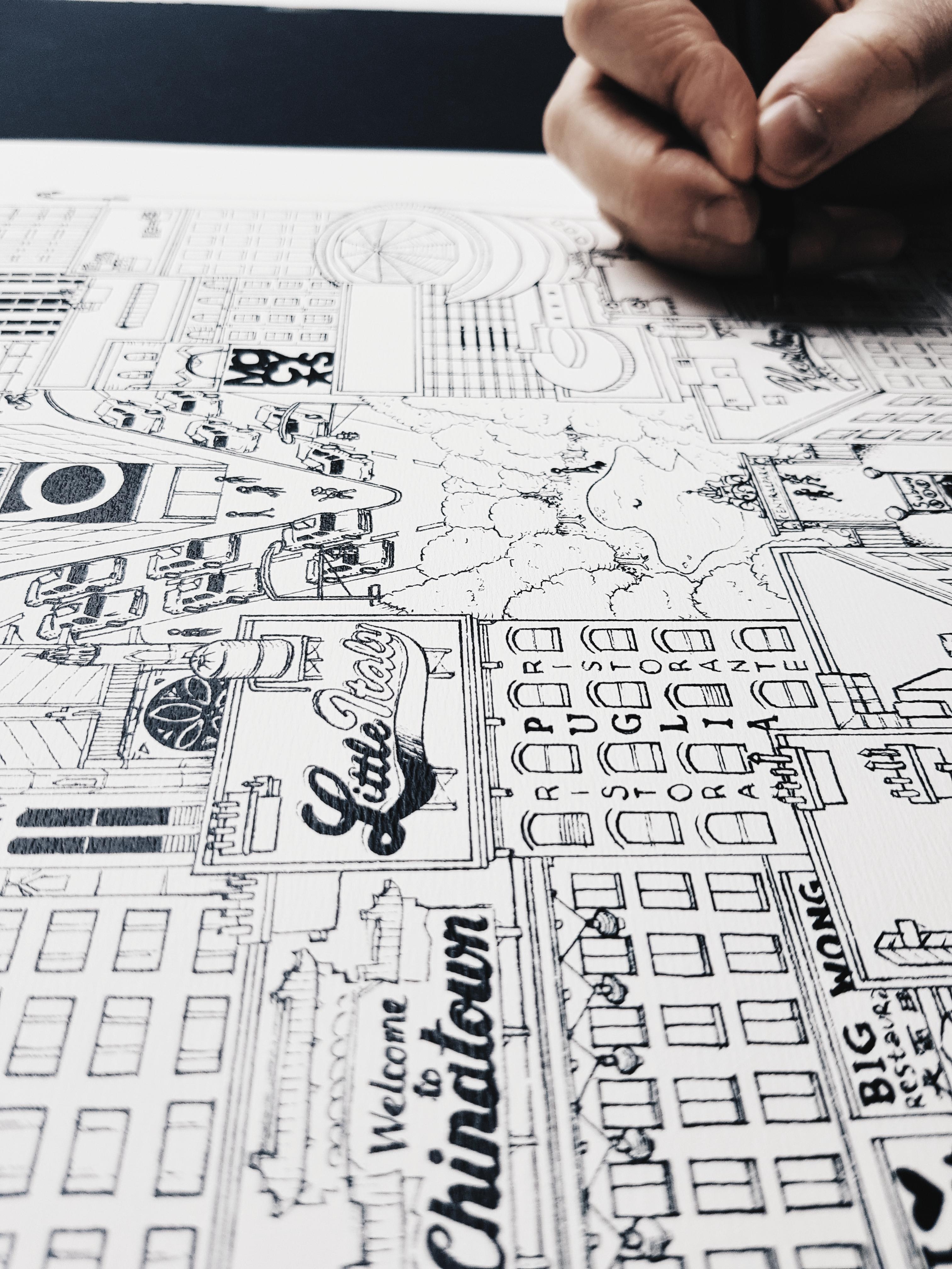 ILLUSTRATION Docteur Paper VILLE CITY AFFICHE ARCHITECTURE MONTREAL
