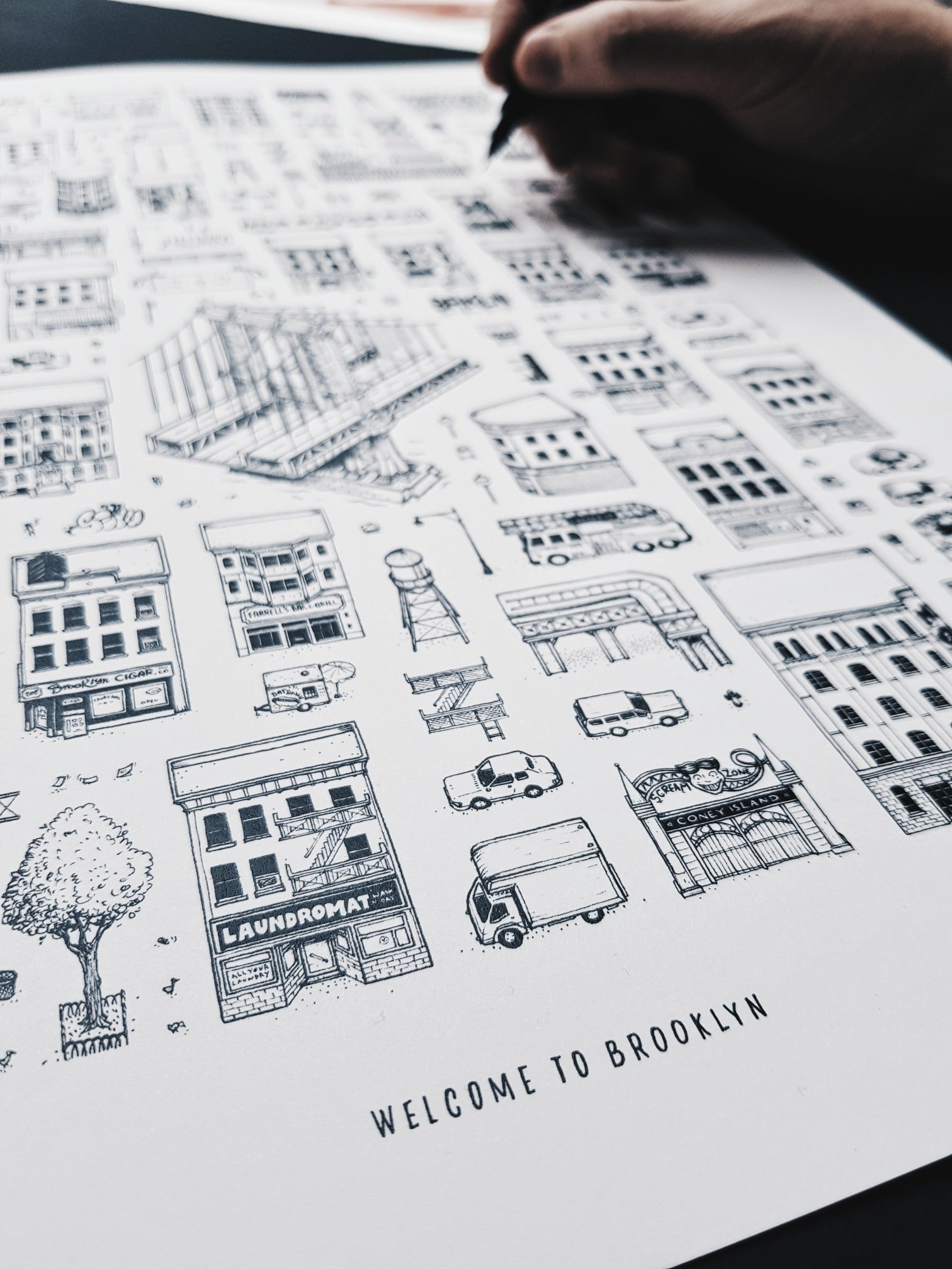 WELCOME TO BROOKLYN Docteur Paper UNIPIN New York ILLUSTRATION AFFICHE