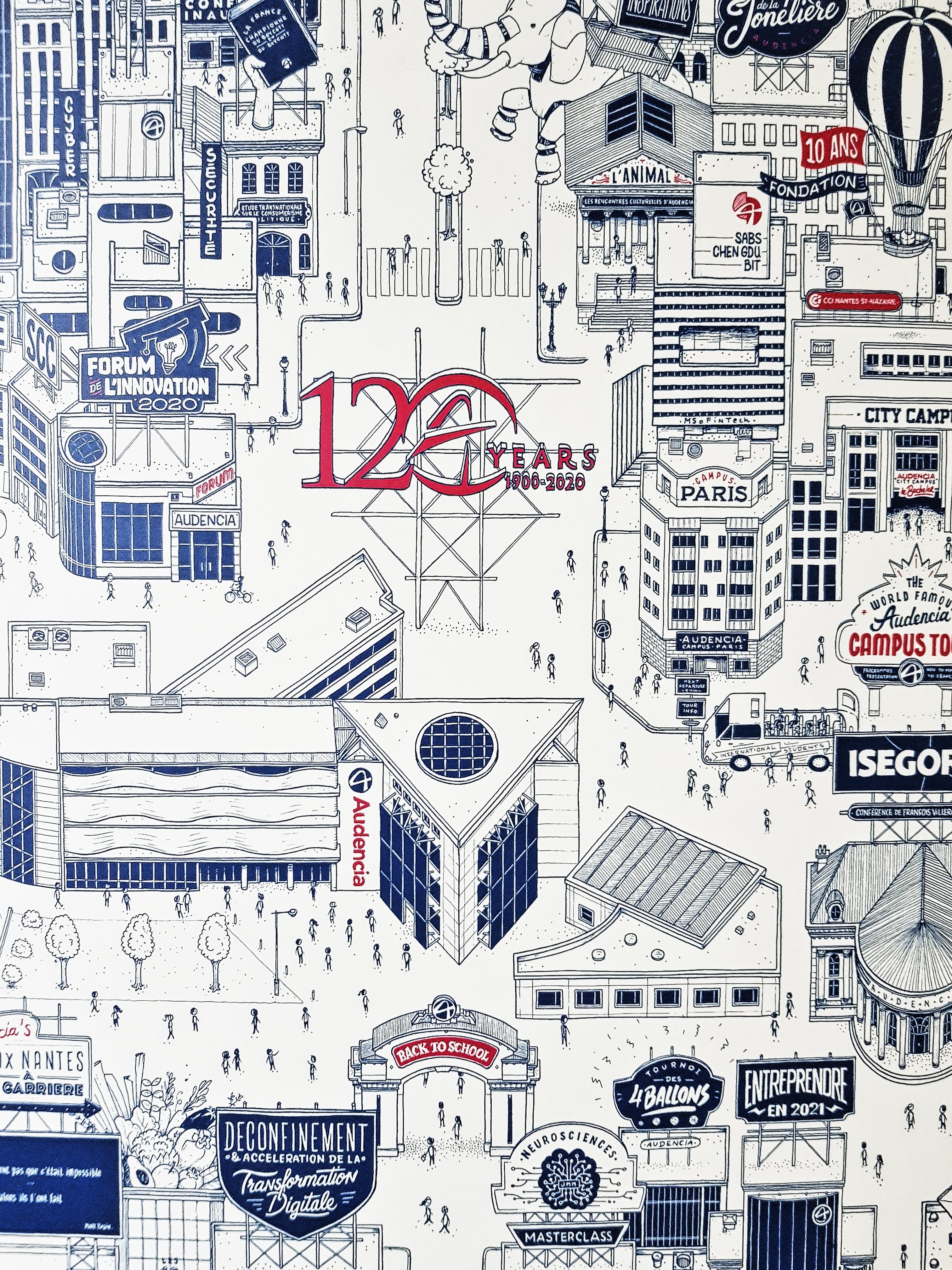AUDENCIA Docteur Paper 120 ANS NANTES Nantes City ILLUSTRATION