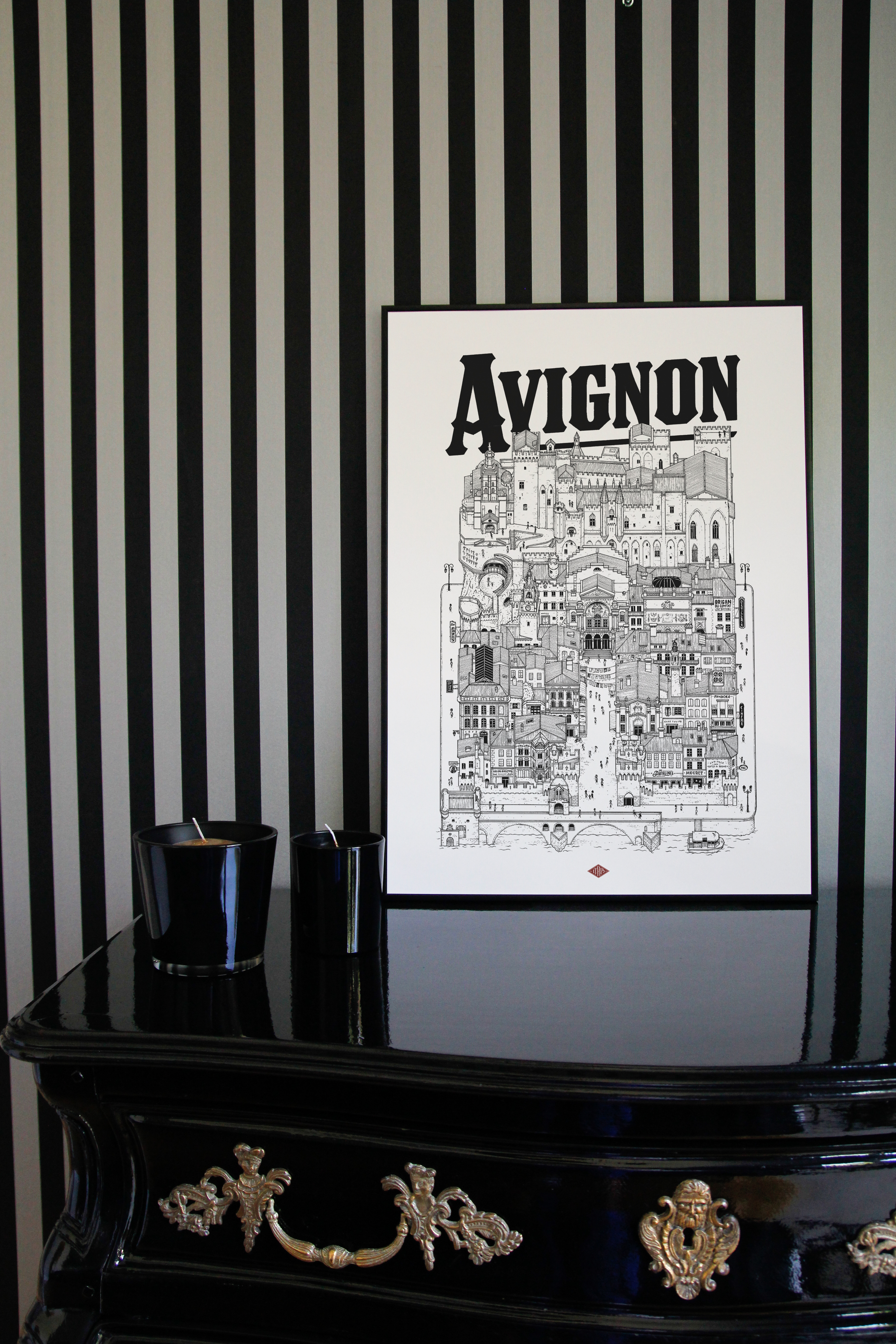 AVIGNON Docteur Paper ILLUSTRATION ILLUSTRATEUR VILLE AFFICHE CARTE